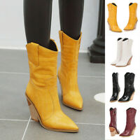 Womens Western Cowboy Mid Calf Boots Pull On Pointed Toe Chunky High Heel Boots