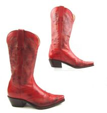 Ladies Charlie 1 Horse Red Leather Engraved Flower Design Western Boots Size:7 B
