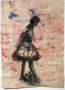 Edgar Degas Girl Portrait Original Watercolor Drawing Painting. Signed.
