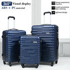 """3 Piece Luggage Set Trolley Travel Suitcase ABS+PC Hardside Nested Spinner Blue <br/> 20""""-24''-28''✔a dust cover✔Coded Lock✔360°Spinner Wheel"""
