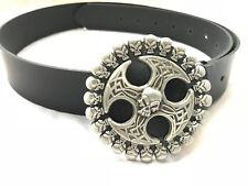 Cintura cinta in pelle emblema gothic malta cross custom bobber harley davidson