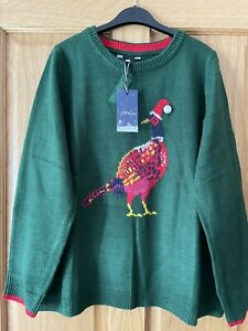 Joules Womens Size 10 - The Cracking Festive Jumper - Green Pheasant - BNWT