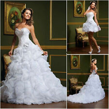 New White/Ivory 2in1 Short Long A-line Organza Ruffles Wedding Dress Bridal Gown