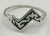 Vintage Taxco Mexico Sterling Silver Bangle Bracelet With Malachite Inlay TJ-67