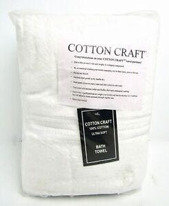 COTTON CRAFT Ultra Soft 4 Pack Bath Towel, 100% Cotton - White - NEW