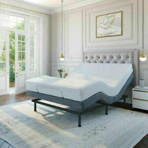 "Twin XL Adjustable Motorized Bed Base Massage Remote w/ 14"" Memory Foam Mattress"