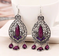 Women Retro Boho Purple Violet Bohemia Party Ethic Earrings Ear Hook Drop Dangle