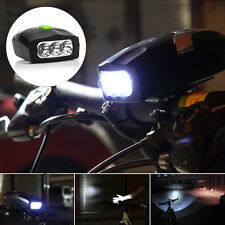 3-LED Headlamp Headlight Front Light Electric Horn Bell Speaker For Bike Bicycle