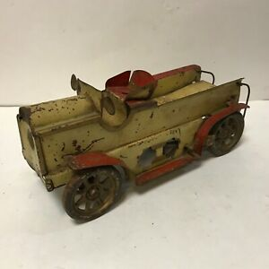 Vintage 1925 Large Open Dayton Pressed Steel Work Truck Yellow and Red