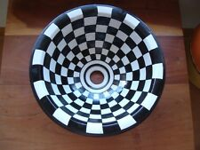 Moroccan small black + white squares hand painted ceramic round sink wash basin
