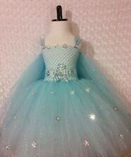 Little Girls dress/Elsa Frozen/ with cape/  5-8 kids lined tea length
