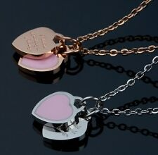 Stainless Steel Love Double Heart Pendant Necklace Silver Rose Gold Gift Box PE6