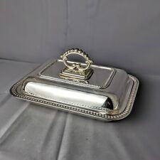 More details for antique silver plate entree serving tray lidded dish by thomas white c. 1880s