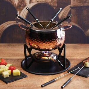 ARTESA Stainless Steel 6 Person Cheese Chocolate Fondue Set w/ Forks Copper Fin