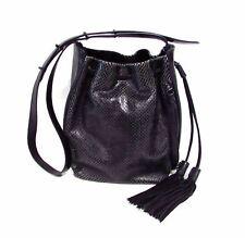 Botkier Snake Embossed Leather Drawstring Bucket Bag Black
