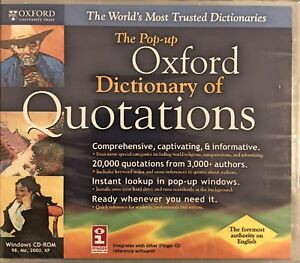 The Pop Up Oxford Dictionary Of Quotations Pc New XP A World Bank of Quotations