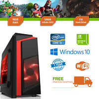 Cheap Gaming PC Intel Core i5 3.1GHz Windows 10 GT710 2GB 16GB RAM 128GB SSD 1TB