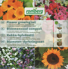 2 Sets with labels, soil & flower seeds: Lobelia/Marigold/Sunflower/Snapdragon