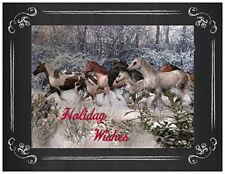20 CHRISTMAS MUSTANGS HORSES Running Greeting Flat CARDS Envelopes Seals