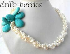 2Strands 18'' White Baroque Freshwater Pearl Teardrop Turquoise Necklace