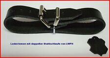 4 Lederriemen schwarz 1,5 x 30,0 c doppelte Metallschlaufe Nostalgie Kinderwagen