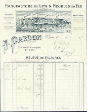 Paris XIV ème-  Belle Facture Manufacture de Lits & Meubles en Fer de 1919