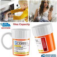 Homorous Prescription Pill Coffee Mug Tea Ceramics Cup For Caffeine Lover 300ML