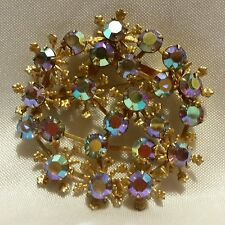 Vintage Snowflake Aurora Borealis Rhinestone Gold Tone Round Brooch Sweater Pin