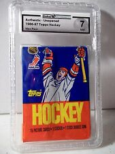 1986-87 Topps Wax Pack GAI Graded NM 7 Patrick Roy RC NHL Collectible