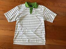 Under Armour Men's White Green Black Stripe Golf Polo Shirt Size Small
