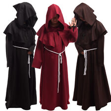 Medieval Monk Reenactment Hooded Robe Halloween Cosplay Costume Party Cloak Robe