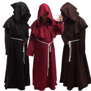 Medieval Monk Reenactment Hooded Robe Halloween Cosplay Costume Party Cloak Robe
