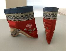 19th C Antique Red Chinese Embroidered Lotus Shoes Boots BOUND FEET