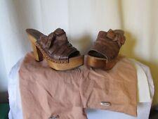 sandales compensées miu miu cuir marron pointure 39,5