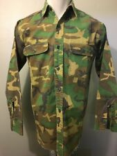 Vtg 60s 70s Camo Shirt Mens S Ripstop Kamo Hunting Shooting Vietnam Era Cotton