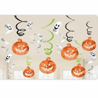 12pc Pumpkin Ghost Hanging Halloween Foil Swirl Ceiling Party Decoration Room