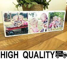 "Photo Block 11x4"" Personalised Wood Family Friend Wedding Birthday Baby Gift"