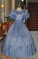 Ladies Victorian  American Civil War 3pc pale blue costume fancy dress 6-32