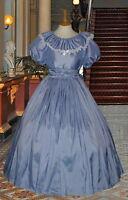 Ladies Victorian  American Civil War 3pc pale blue costume fancy dress 6-20