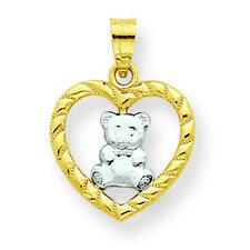 10K Gold Teddy Bear Heart Charm Pendant MSRP $101