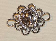 Handsome Roped Loop Rim Horse Head Horseshoe Good Luck Silvertone Brooch Pin