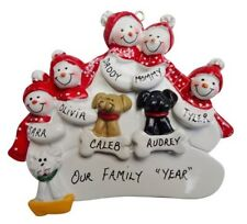 Personalized Snowman Family of 5 with 3 Dogs or Cats Christmas Ornament