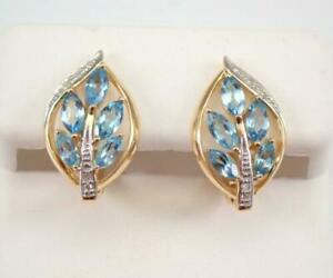 14K Yellow Gold Over 2Ct Marquise Cut Blue Topaz & Diamond Cluster Hoop Earrings