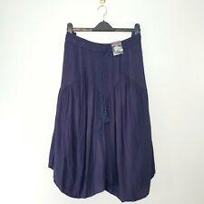 M&S (UK size 18) Navy Blue Crinkle Maxi Gypsy Skirt with Tassels - Elastic Waist