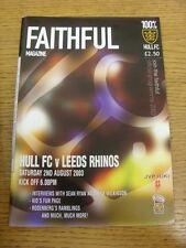 02/08/2003 Rugby League Programme: Hull v Leeds Rhinos. Footy Progs (aka bobfran