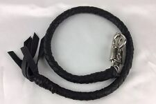 """Biker Get Back Whip Motorcycle Braided Flat Black Leather 36"""" Quick Release Clip"""
