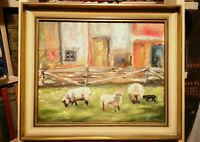 Altes kleines Ölgemälde, Ölbild, Schafe, Natur,G.Blanken,sign.,impressionistisch