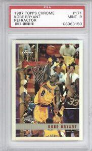 KOBE BRYANT PSA 9 1997 TOPPS CHROME BASKETBALL #171 REFRACTOR LAKERS MINT 3150