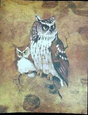 RARE Beauty SCREECH OWL 20X16 MCM Lithograph RICHARD HINGER Print CANVAS NOS