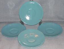 """Vintage Salem North Star Turquoise 6"""" Saucers - Set of 4- Aqua Blue Euc"""